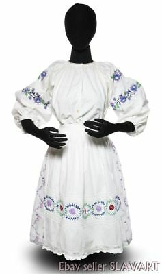 Vintage Ukrainian Folk Costume embroidered blouse apron peasant skirt ethnic old