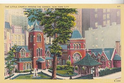 Y69.Vintage Linen Postcard.The Little Church around the corner. New York City.
