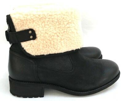 64cca602acc UGG ALDON WATER-RESISTANT Leather Plush Wool Lining Black Women's Boots