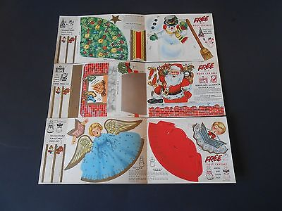 6 Vintage Post Cereal Paper Christmas Punch-Out Ornaments Set