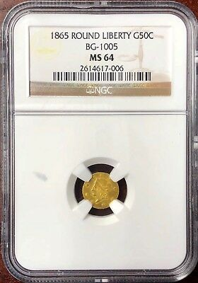 1865 California Fractional Round Liberty 50c BG-1005 NGC MS 64