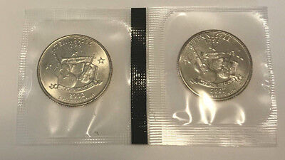 2002 P D Tennessee State Quarter BU in US Mint Cello - 2 Coin Uncirculated