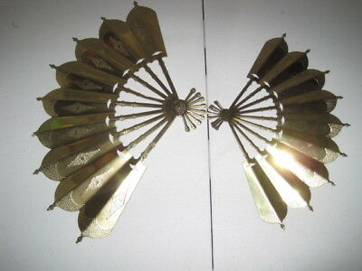HOME INTERIORS Set of 2 SHINY GOLD Wall Hanging FANS Plaques METAL Accordian