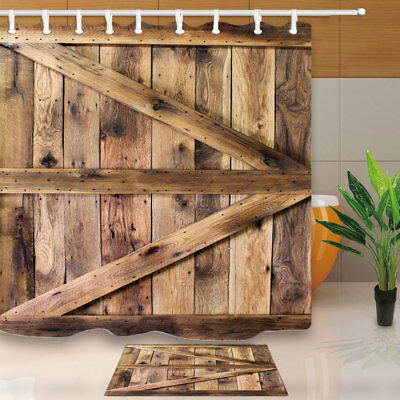 Old wooden barn door Shower Curtain Bathroom Decor Fabric & 12hooks 71*71inches