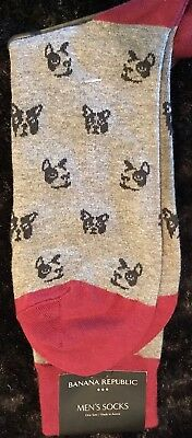 French Bulldog Dog Crew Socks BANANA REPUBLIC Mens Socks Sold Out In Stores
