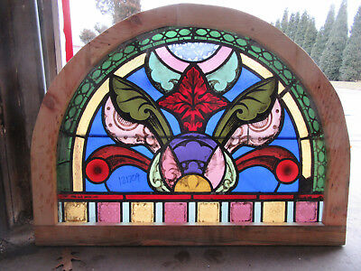 Antique Stained Glass Window Painted Kiln Fired 38 X 28 ~ Architectural Salvage