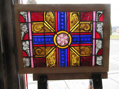 Antique Stained Glass Window Painted Kiln Fired ~ 36X26 ~ Architectural Salvage