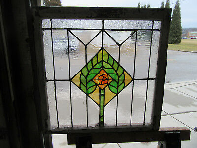 ~ ANTIQUE AMERICAN STAINED GLASS WINDOW ~ ROSE 28 x 28 ~ ARCHITECTURAL SALVAGE ~