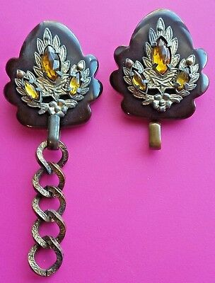 Ornate Vtg Brown Bakelite With Metal & Amber Rhinestones Dress Scarf Clip Set
