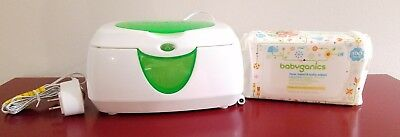 Munchkin Warm Glow Baby Wipe Warmer and Babyganics Wipes 100 Count Bundle