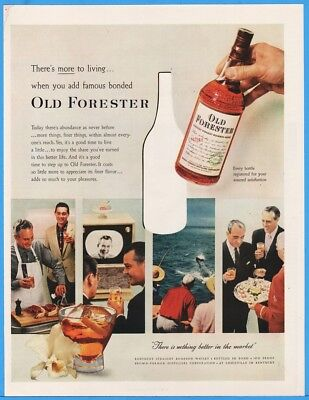 1956 Old Forester Bourbon Whisky Brown Forman Louisville KY More to Living Ad