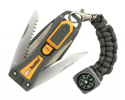 Smith's Survival Multi Tool 10 Tools Knife Saw Fire Starter Sharpener & More