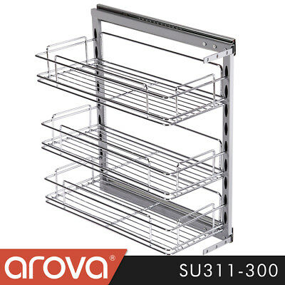 Pull Out Spice Shelf Rack Pantry Organiser Kitchen Base Under Bench Wire Chrome
