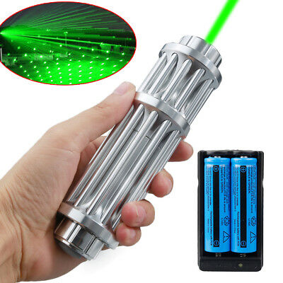 Military 1 W 532nm Green Laser Pointer Pen 18650 Zoom Visible Beam Light+Charger