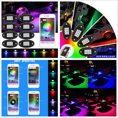 8 Pcs Car Boat Multi-Color LED Under Body Rock Light Chassis Lamps Bluetooth APP