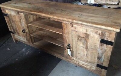 Rustic Solid Reclaimed Wood Tv Stand Media Center With Sliding Door