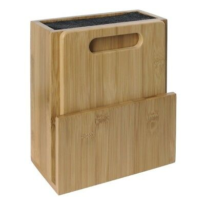 Vogue Wooden Universal Knife Block and Chopping Board Brown Bamboo