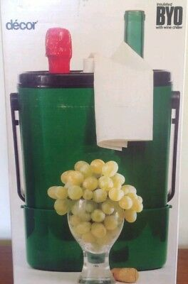 Vintage 1970's Decor #545 Green BYO Wine Cooler/Carrier fits 2bottles Aust Made