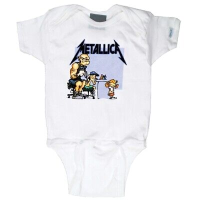 Metallica Tattoo White Baby One Piece Bodysuit Infant Romper Official 0-24