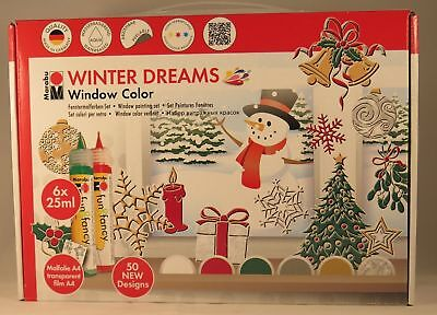 Marabu Window Color Set WINTER DREAMS,abziehbare Transparentfarbe,6er Pack