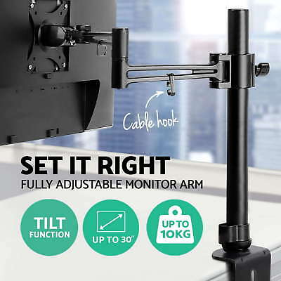 LED Desk Single HD  Mount Monitor Arm Stand Display Bracket Holder LCD Screen BS
