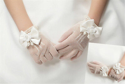 Kids Princess Gloves Flower Girl Short Gloves With Satin Bow Stretch Mesh*Gloves