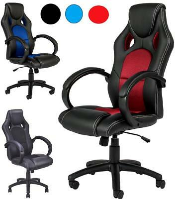 New Luxury PU Leather Office Chair Racing Rocking Swivel Seat Computer Desk