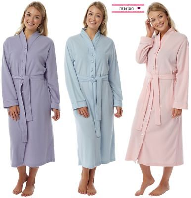 Ladies dressing gown nightwear button through fleece backed toweling robe