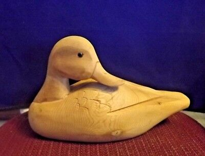 "Vintage Hand Carved Duck Decoy Natural Wood Glass Eyes 11"" Etched Feathers"