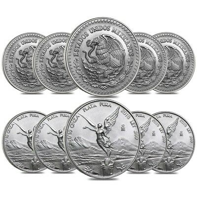 Lot of 10 - 2018 1/10 oz Mexican Silver Libertad Coin .999 Fine BU