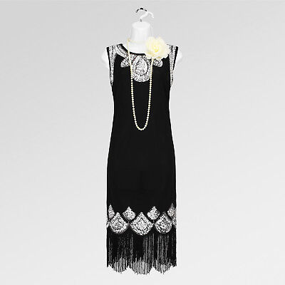 New 1920's gatsby vintage charleston flapper tassel sequin black dress UK 10-16