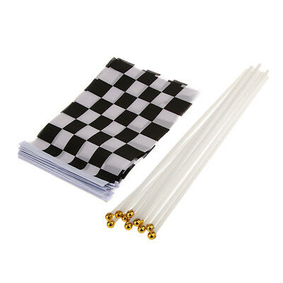 12Pcs Water-proof Racing Flag Handheld Flag Chequered Flag Black & White
