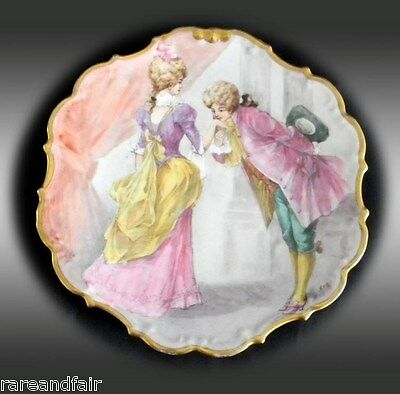 Flambeau Limoges wall plate with hand painted scene - artist init -FREE SHIPPING