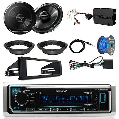 "Kenwood Marine Radio + Kit, 2x 6.5"" Speakers + Adapters, Antenna, Tinned Wire"