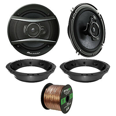 """2x Pioneer TS-A1676R 6.5"""" 3-Way Speakers, Adapter, 50 Ft Wire ('98-2013 Harley)"""