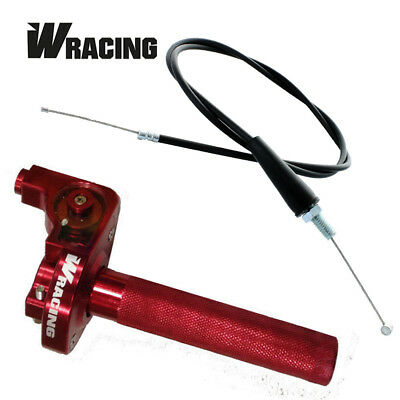 Hmparts Dirt Pit Bike Performance Race short Throttle Lever Twist Grip Throttle Aluminum Color Red