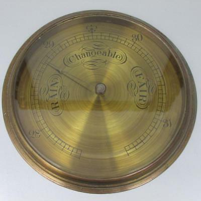 """LARGE ANTIQUE ANEROID BAROMETER engraved brass dial 8"""" with  GLAZED BEZEL"""