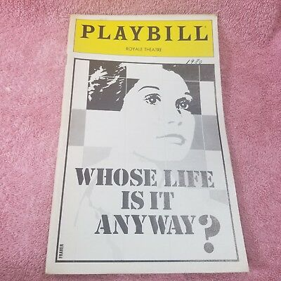 Vintage 1980 ROYALE THEATRE PLAYBILL - WHOSE LIFE IS IT ANYWAY? Program-FreeSHIP