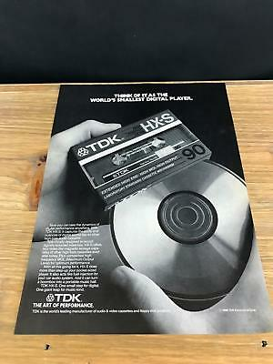 1987 VINTAGE 8X11 PRINT Ad FOR TDK CASSETTE TAPES WORLDS SMALLEST DIGITAL PLAYER