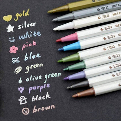 10 x Color Metallic Fine Pen Pencil Marker DIY Album Dauber Pen Set WaterproofRS