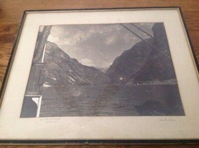 Gudvangen Norway Large Framed Lithograph From A Steamers View