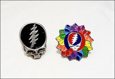 Grateful Dead Lot Of 2 Pins Pinbacks Steal Your Flower / Die Cast