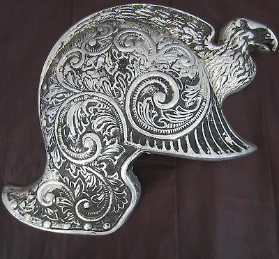 Antique Vintage ornate  helmet  with eagle shaped  wall mounting metal  plaque