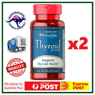 TWO BOTTLES: Thyroid Action Support 120 Caps - Iodine, B Vitamins, L-Tyrosine