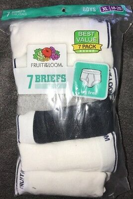 "7-Pack Fruit Of The Loom Briefs Waist Size 28""-30"" Boy's XL (18-20) ~ New"