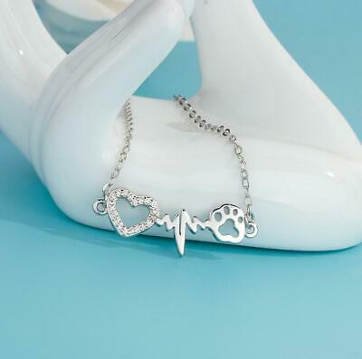 Adorable 925 Sterling Silver Gold Rabbit & Moon Pendant Necklace