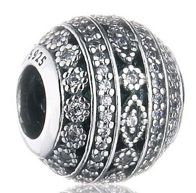 PAVE CZ SHAPES are Glittering  925 Sterling Silver European Charm Bead