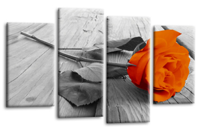 Floral Rose Canvas Wall Art Picture Large Orange Grey White Love 4 Panel Set