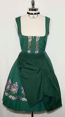 S 8 / GREEN COTTON German Trachten EMBROIDERY Oktoberfest DIRNDL Party Dress
