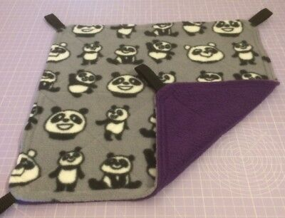 New Flat Fully Quilted Hammock For Rats+small Animals. PANDAS + PURPLE FLEECE